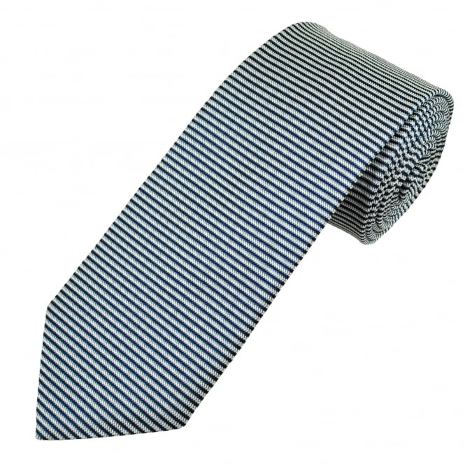 Profuomo White & Navy Horizontal Striped Silk Designer Tie