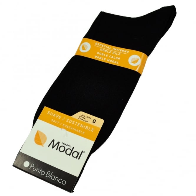 Punto Blanco - Plain Black Modal Men's Socks