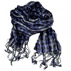 Purple, Black & Silver White with Silver Lurex Ruched Checked Scarf