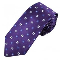 Purple, Blue & Silver Floral Patterned Silk Tie