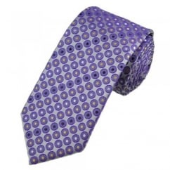 Purple Circles with Gold, Silver & Grey Polka Dot Spots Tie