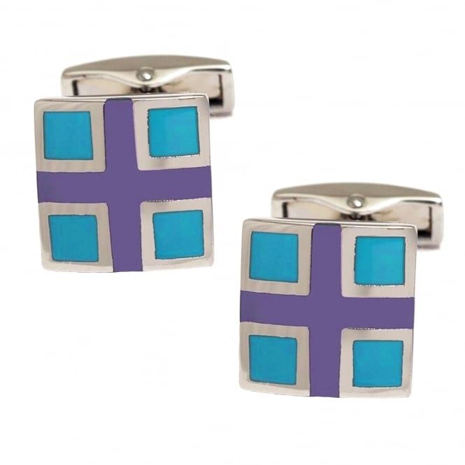 Purple Cross & Turquoise Square Cufflinks