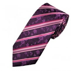 Purple Floral Pattern with Pink Stripe Men's Silk Tie