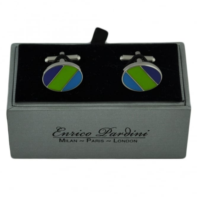 Purple, Green & Light Blue Striped Oval Designer Cufflinks By Enrico Pardini