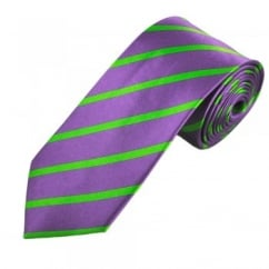 Purple & Green Thin Striped Men's Silk Tie