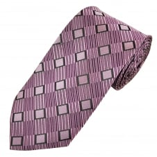 Purple, Lilac & Black Square Patterned Men's Extra Long Tie