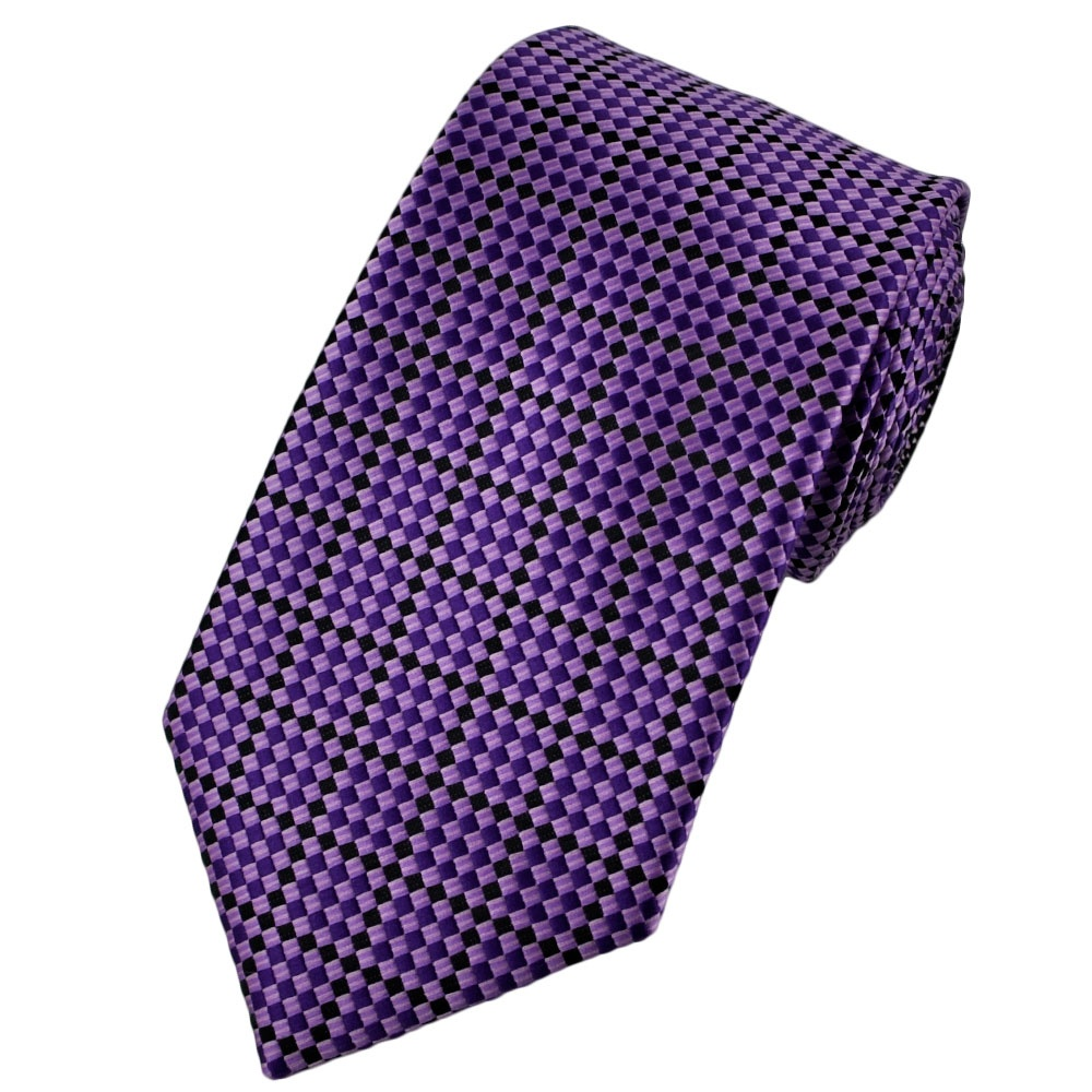 purple lilac lavender black checked tie from