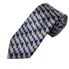 Purple, Lilac, Silver & Beige Patterned Men's Extra Long Tie