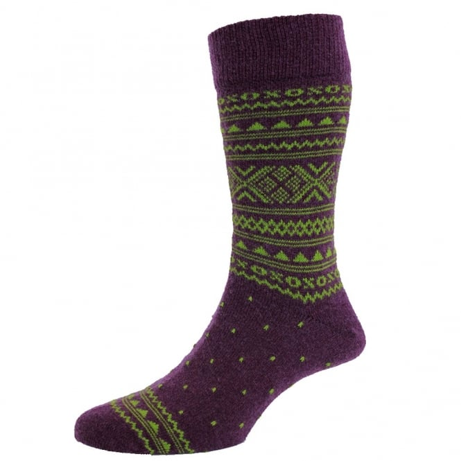 Purple & Lime Green Fair Isle Luxury Lambswool Men's Socks by HJ Hall