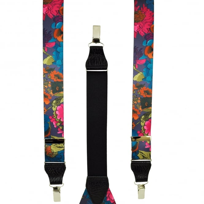 Purple & Multi Coloured Flower Patterned Men's Trouser Braces