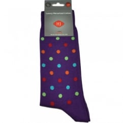Purple & Multi Coloured Spots Men's Socks by HJ Hall Size:7-10