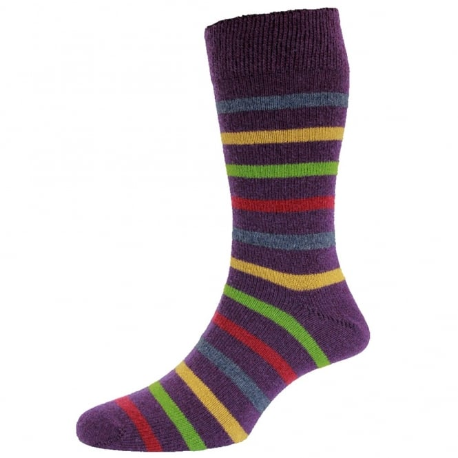Purple & Multi Coloured Stripes Lambswool Men's Socks by HJ Hall