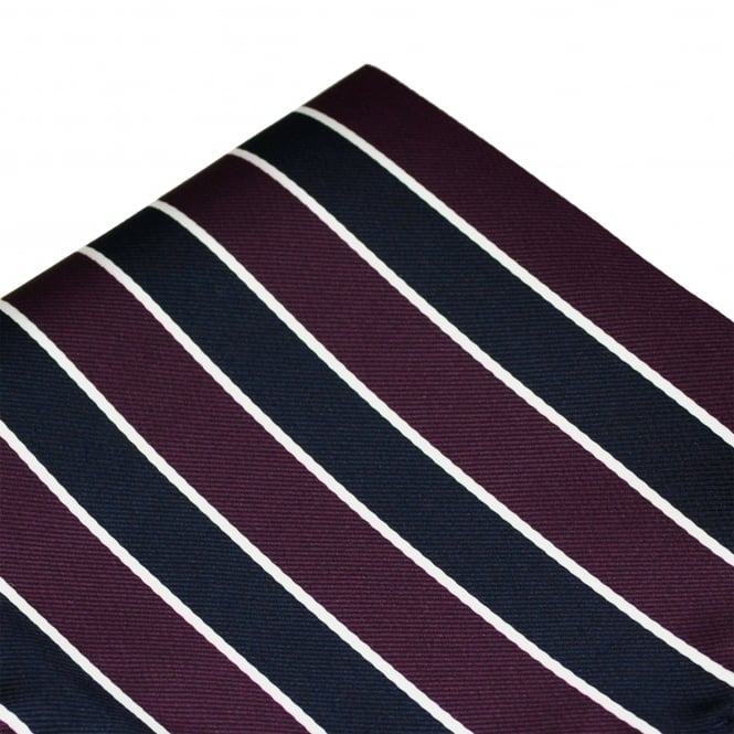 Purple, Navy Blue & White Striped Pocket Square Handkerchief