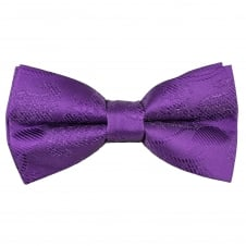 Purple Paisley Patterned Boys Bow Tie