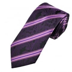 Purple Paisley Striped Men's Silk Tie