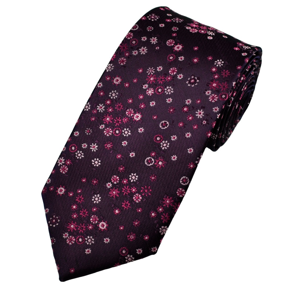purple shades of pink floral patterned s tie from