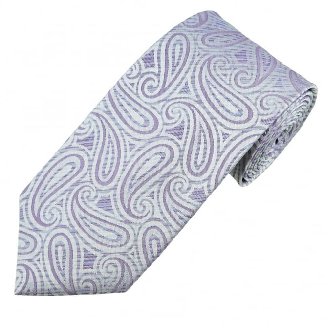 Purple & Silver Bold Paisley Men's Silk Tie