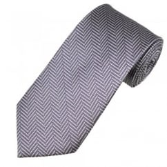 Purple & Silver Chevron Striped Patterned Men's Silk Tie