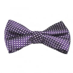 Purple & Silver Square Patterned Silk Bow Tie