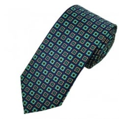 Purple, Turquoise & Beige Patterned Tie