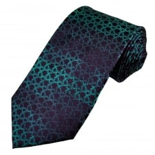 Purple & Turquoise Metallic Patterned Men's Silk Tie