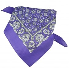 Purple, White & Black Paisley Patterned Bandana Neckerchief
