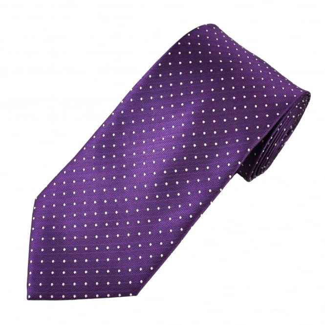 Purple & White Polka Dot Men's Tie