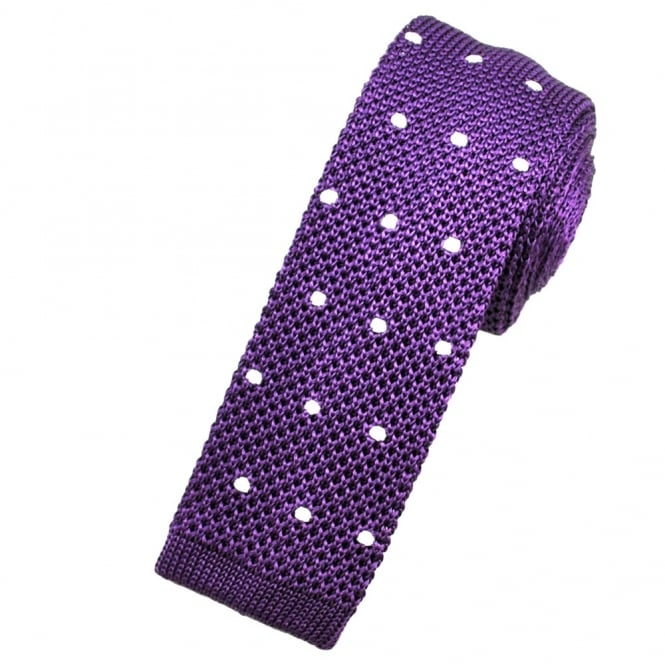 Purple & White Polka Dot Silk Knitted Tie