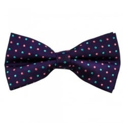 Purple with Pink & Turquoise Polka Dot Silk Bow Tie