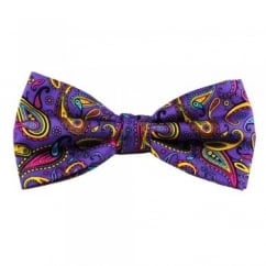 Purple, Yellow & Pink Large Paisley Silk Bow Tie