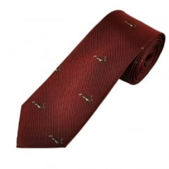 Rabbit Burgundy Luxury Silk Narrow Country Tie