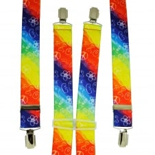 Rainbow Coloured Love & Peace 1969 Men's Trouser Braces