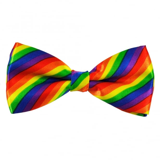 Rainbow Striped Novelty Bow Tie