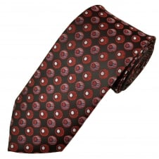 Red, Black, Navy & Purple Circle Patterned Men's Extra Long Tie
