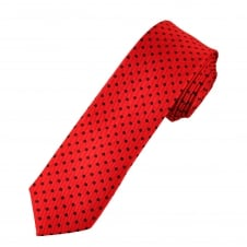 Red & Black Polka Dot Boys Skinny Tie
