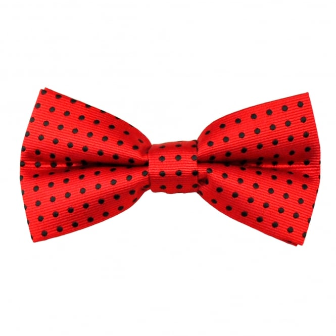 Red & Black Polka Dot Men's Bow Tie