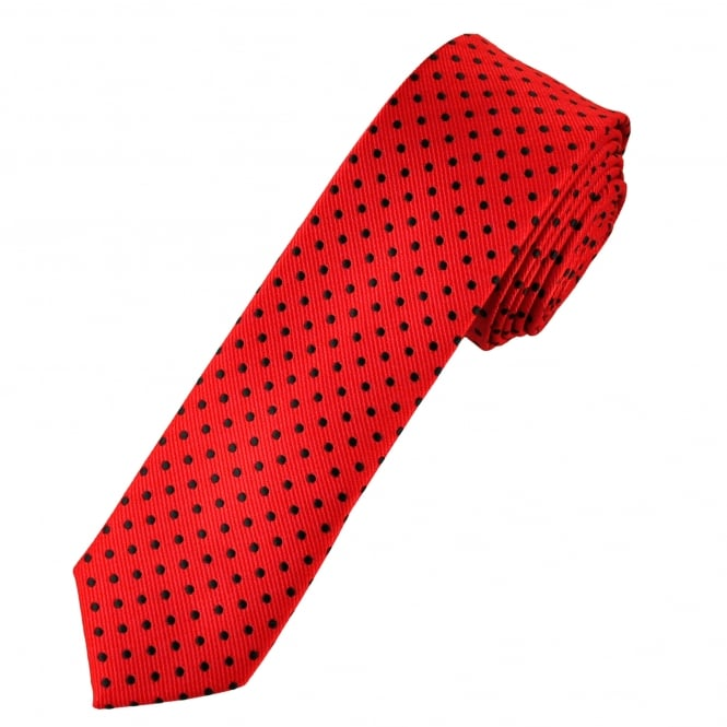 Red & Black Polka Dot Men's Skinny Tie