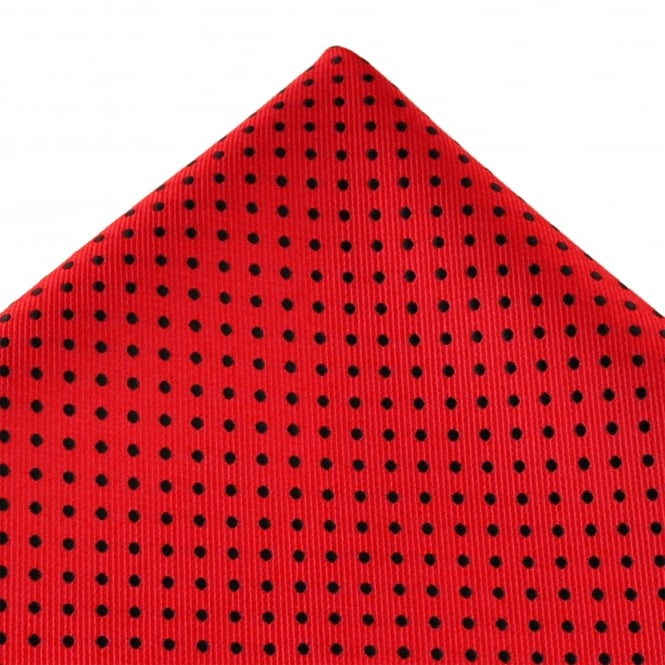 Red & Black Polka Dot Pocket Square Handkerchief