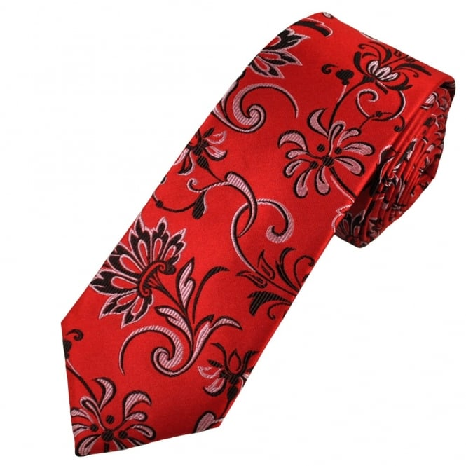 Red, Black & Silver Floral Patterned Luxury Narrow Silk Tie