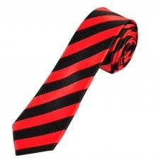 3e432575625e Red & Black Striped Men's Skinny Tie
