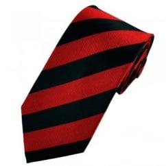 Red & Black Striped Silk Tie