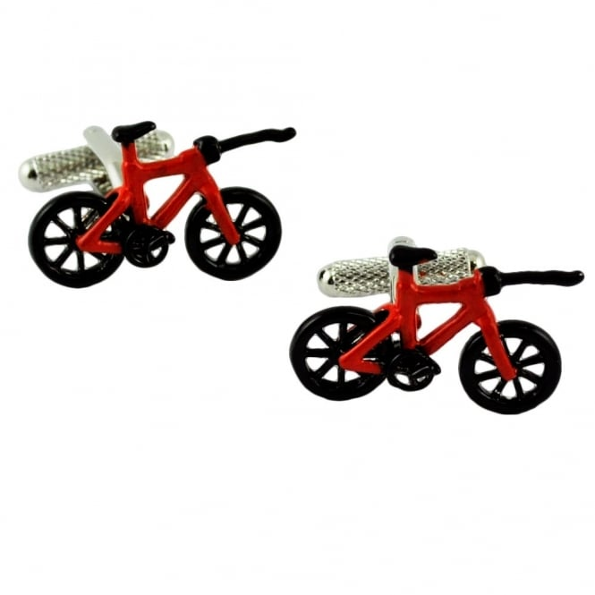 Red & Black Triathlon Bicycle Novelty Cufflinks
