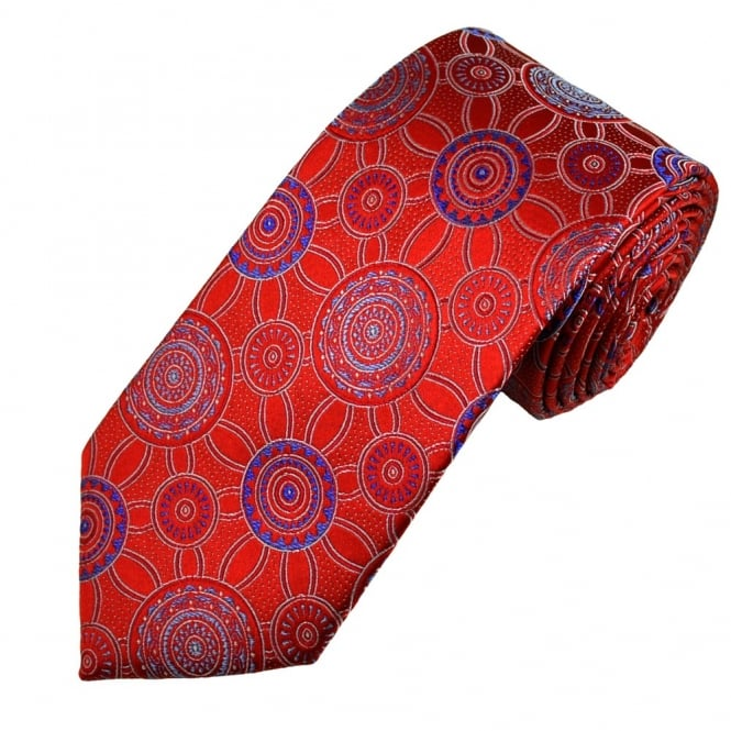 Red & Blue Circle Patterned Men's Silk Tie