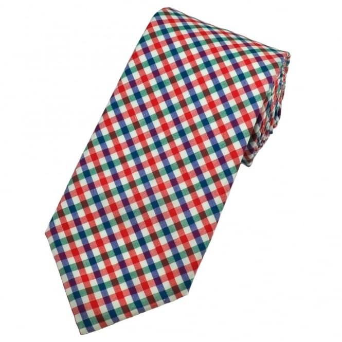 Red, Blue, Green & White Gingham Checked Narrow Silk Designer Tie by Profuomo