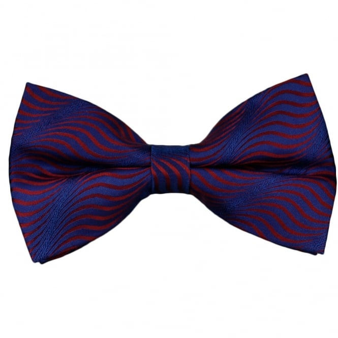 Red & Blue Swirl Patterned Silk Bow Tie