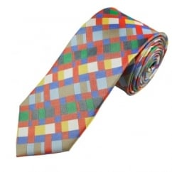 Red, Blue, Yellow, Green & White Patterned Men's Silk Tie