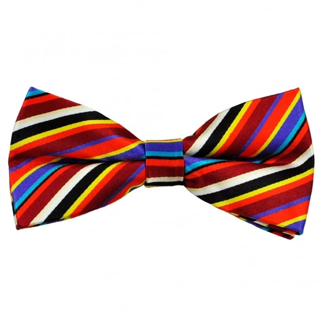 Red, Blue, Yellow & White Striped Men's Silk Bow Tie