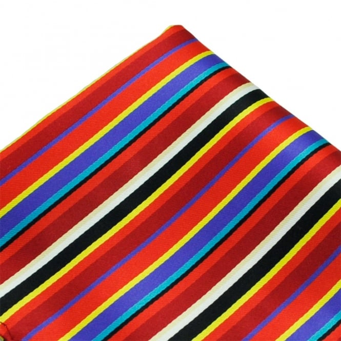 Red, Blue, Yellow & White Striped Pocket Square Handkerchief