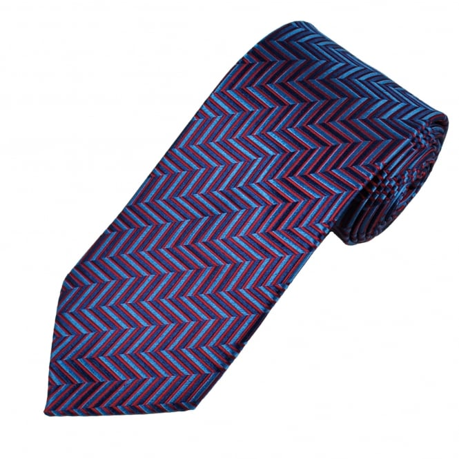 Red & Blue Zig Zag Patterned Men's Silk Tie