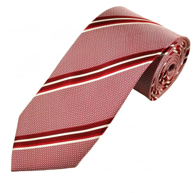 Red, Burgundy & White Stripes & Squares Men's Silk Tie
